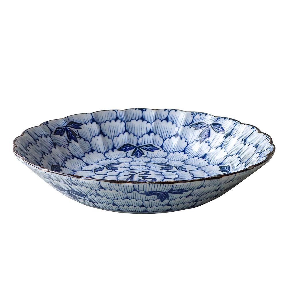 日本AWASAKA美濃燒—深盤(花萬葉)