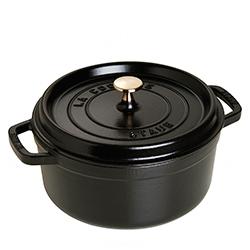 法國Staub-圓形鑄鐵鍋(霧黑.直徑22cm)