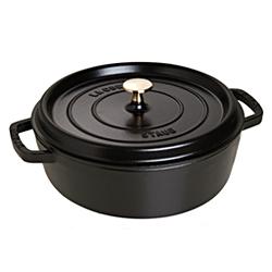 法國Staub-鑄鐵淺鍋(霧黑.直徑26cm)