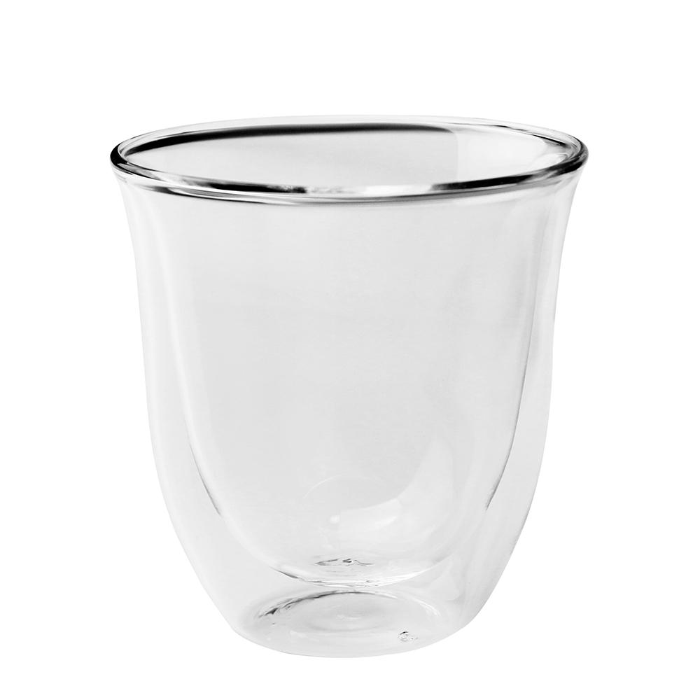 台灣紅琉璃—雙層玻璃杯(圓弧,250ml)