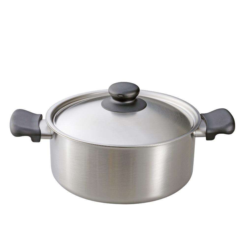 日本柳宗理—不銹鋼雙耳鍋(直徑22cm•附不銹鋼蓋)