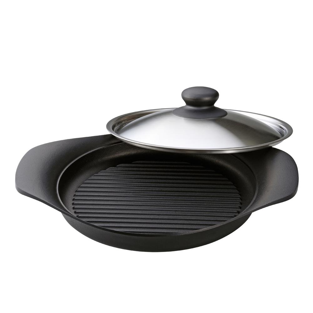 日本柳宗理—南部鐵器橫紋煎鍋(附不銹鋼蓋)