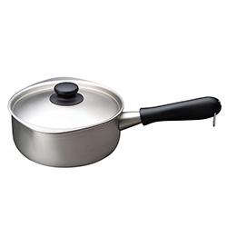 日本柳宗理—三層鋼不銹鋼單手鍋(霧面•直徑18cm•附不銹鋼蓋)