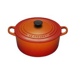 LE CREUSET-圓形鑄鐵鍋(火焰橘.直徑20cm)