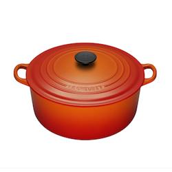 LE CREUSET-圓形鑄鐵鍋(火焰橘.直徑22cm)