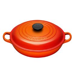 LE CREUSET-淺底鑄鐵鍋(火焰橘.直徑26cm)