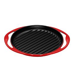 LE CREUSET-圓形鑄鐵烤盤(櫻桃紅.直徑25cm)