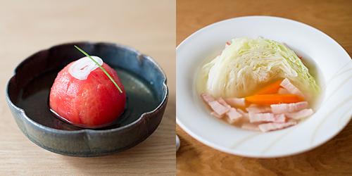 高湯漬蕃茄和培根高麗菜湯